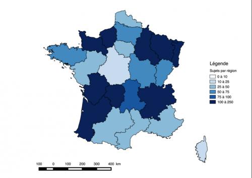 Figure 3 Couverture de la tempête dans les éditions régionales des JT de France 3 (du 25 décembre 1999 au 31 janvier 2000) (source : Thibault Le Hégarat)